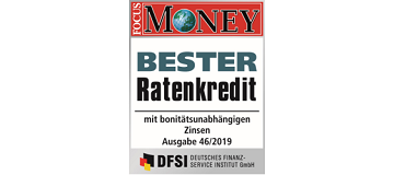 FOCUS Money Bester Ratenkredit 2019